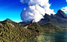 Ηφαιστειακή έκρηξη στο τροπικό νησί Στοκ Εικόνες