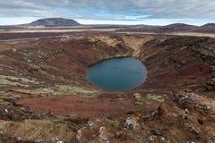 Ηφαιστειακή λίμνη κρατήρων Kerid στην Ισλανδία Στοκ Εικόνες