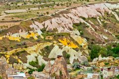 Ηφαιστειακοί σχηματισμοί βράχου σε Cappadocia, Ανατολία, Τουρκία Goreme Στοκ Φωτογραφίες
