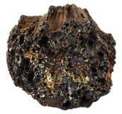 Ηφαιστειακός βράχος βασαλτών στο άσπρο υπόβαθρο: βράχος ελαφροπετρών με την εκθαμβωτική πολύχρωμη μεταλλική επιφάνεια γυαλιού Στοκ Εικόνα