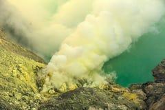 Ηφαιστειακός κρατήρας Ijen Kavah, Ινδονησία Στοκ Φωτογραφία