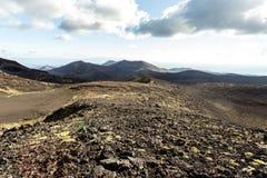 Ηφαιστειακό τοπίο κοντά στο ενεργό ηφαίστειο Tolbachik, Kamchatka, Ρωσία στοκ φωτογραφία
