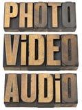ηχητικές τηλεοπτικές ξύλινες λέξεις τύπων φωτογραφιών Στοκ εικόνες με δικαίωμα ελεύθερης χρήσης
