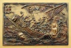 Ηψεκάζω ψυχή η ίδια είναι η ισχυρότερη δύναμη  Το Sudamstra, ένας φίδι-πρίγκηπας, δημιουργεί μια βαριά θύελλα στον ποταμό, αλλά α στοκ εικόνα