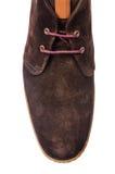 Η άκρη των αρσενικών παπουτσιών που απομονώνεται στο λευκό Στοκ Φωτογραφία