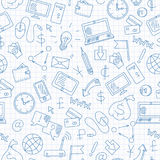 Η άνευ ραφής απεικόνιση στο θέμα της τεχνολογίας πληροφοριών και κερδίζει τα σε απευθείας σύνδεση, απλά hand-drawn εικονίδια περι Στοκ φωτογραφία με δικαίωμα ελεύθερης χρήσης