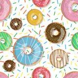 Η άνευ ραφής απεικόνιση donuts σχεδίων φωτεινή νόστιμη διανυσματική που απομονώνεται ψεκάζει το υπόβαθρο Doughnut υπόβαθρο Στοκ εικόνα με δικαίωμα ελεύθερης χρήσης