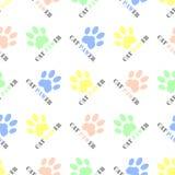 Η άνευ ραφής γάτα το ζωικό σχέδιο υποβάθρου σχεδίων διανυσματικό με τις ζωηρόχρωμες τυπωμένες ύλες ποδιών γατών και τη wordplay γ Στοκ φωτογραφίες με δικαίωμα ελεύθερης χρήσης
