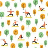 Η άνευ ραφής γιόγκα θέτει το σχέδιο Διανυσματικοί άνθρωποι στο πάρκο, αθλητική απεικόνιση Στοκ Εικόνες
