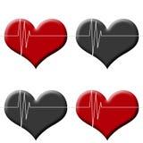 Η άνευ ραφής καρδιά υποβάθρου Tileable κτύπησε το όργανο ελέγχου κόκκινος και μαύρος Στοκ Φωτογραφίες