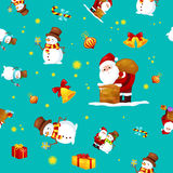 Η άνευ ραφής Χαρούμενα Χριστούγεννα σχεδίων και καλή χρονιά, φίλοι Άγιος Βασίλης στο καπέλο με παρουσιάζουν και χιονάνθρωπος στο  διανυσματική απεικόνιση