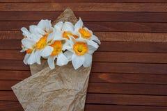 Η άνοιξη ανθίζει daffodils για το δώρο στοκ εικόνες