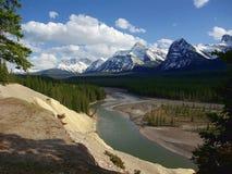 Η άποψη αιγών και παγετώνων που αγνοεί την κοιλάδα ποταμών Athabasca κοντινή τοποθετεί Fryatt, εθνικό πάρκο ιασπίδων, Αλμπέρτα στοκ εικόνες