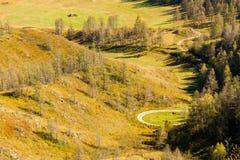 Η άποψη από την κορυφή μια ηλιόλουστη ημέρα στους πράσινους λόφους και τον τομέα Στοκ Φωτογραφία