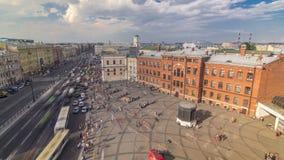 Η άποψη από τη στέγη σε Ligovsky Prospekt και το σταθμό τρένου Moskovsky timelapse Ρωσία Άγιος-Πετρούπολη φιλμ μικρού μήκους