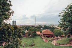 Η άποψη από το Hill του Saint-Paul στην εκκλησία του ST Paul ` s είναι ένα ιστορικό κτήριο εκκλησιών σε Melaka, Μαλαισία Στοκ Εικόνα