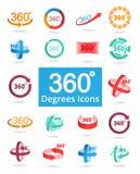 360 η άποψη βαθμού αφορούσε τα διανυσματικά εικονίδια Στοκ φωτογραφίες με δικαίωμα ελεύθερης χρήσης
