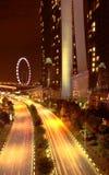 Η άποψη νύχτας του κόλπου μαρινών στρώνει με άμμο Σινγκαπούρη Στοκ Εικόνες
