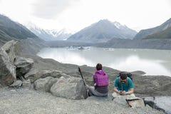 Η άποψη παγετώνων Tasman, Aoraki/τοποθετεί το εθνικό πάρκο Cook, Νέα Ζηλανδία Στοκ εικόνα με δικαίωμα ελεύθερης χρήσης