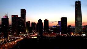 Η άποψη πανοράματος Guomao CBD τη νύχτα απόθεμα βίντεο