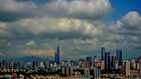 Η άποψη πουλιών των κτηρίων σε Shenzhen, Κίνα απόθεμα βίντεο