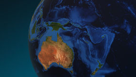 Η άποψη πλανήτη Γη που παρουσιάζει Αυστραλία, τρισδιάστατη δίνει Στοκ Φωτογραφία