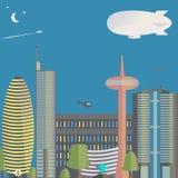 Η άποψη της πόλης Η πόλη με τους ουρανοξύστες, ελικόπτερα κάτω από την πόλη διανυσματική απεικόνιση