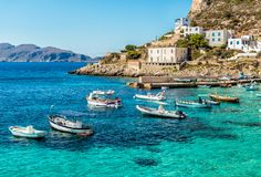Η άποψη του νησιού Levanzo, είναι η μικρότερη των τριών νησιών Aegadian στη Μεσόγειο της Σικελίας, Ιταλία στοκ εικόνα