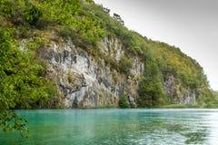 Η άποψη του τεράστιου πετρώδους κατασκευασμένου βράχου κάλυψε με τα δέντρα και φυτεύει το ν με θάμνους Στοκ φωτογραφία με δικαίωμα ελεύθερης χρήσης