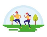 Η άσκηση ζεύγους ασκεί υπαίθρια τη σκηνή ελεύθερη απεικόνιση δικαιώματος