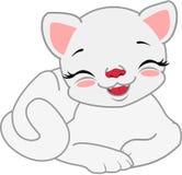 Η άσπρη γάτα κινούμενων σχεδίων είναι ψέμα Στοκ εικόνα με δικαίωμα ελεύθερης χρήσης