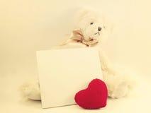 Η άσπρη κάρτα και χαριτωμένος teddy αντέχουν την κούκλα με την κόκκινη καρδιά Στοκ Φωτογραφία