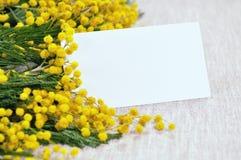 Η άσπρη κάρτα στο φωτεινό κίτρινο χνουδωτό mimosa ανθίζει στο ανοικτό καφέ τραπεζομάντιλο Στοκ Φωτογραφίες