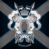 Η άσπρη κάλυψη των όπλων με το ωοειδές πλαίσιο και τα εκλεκτής ποιότητας όπλα στη Σκωτία σημαιοστολίζουν το υπόβαθρο ελεύθερη απεικόνιση δικαιώματος