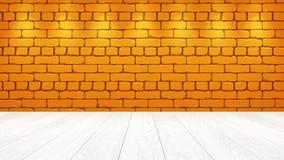 Η άσπρη ξύλινη επιτραπέζια κορυφή στο υπόβαθρο είναι ένα πορτοκαλί παλαιό τούβλο Επίδραση επικέντρων στον τοίχο - μπορεί να χρησι διανυσματική απεικόνιση