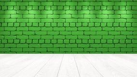 Η άσπρη ξύλινη επιτραπέζια κορυφή στο υπόβαθρο είναι ένα πράσινο παλαιό τούβλο Επίδραση επικέντρων στον τοίχο - μπορεί να χρησιμο απεικόνιση αποθεμάτων
