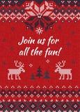 Η άσχημη γιορτή Χριστουγέννων πουλόβερ προσκαλεί πλεκτό ανασκόπηση πρότυπο Στοκ Φωτογραφία