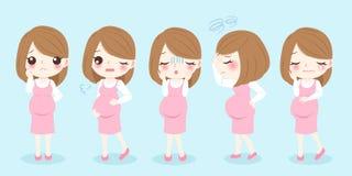 Η έγκυος γυναίκα αισθάνεται ανήσυχη διανυσματική απεικόνιση