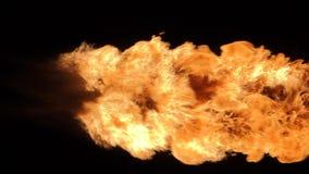 Η έκρηξη σφαιρών πυρκαγιάς, κάμερα υψηλής ταχύτητας, απομόνωσε τη φλόγα πυρκαγιάς στο μαύρο υπόβαθρο απεικόνιση αποθεμάτων