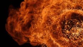 Η έκρηξη σφαιρών πυρκαγιάς, κάμερα υψηλής ταχύτητας, απομόνωσε τη φλόγα πυρκαγιάς στο μαύρο υπόβαθρο απόθεμα βίντεο