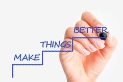 Η έννοια βελτίωσης και απόδοσης με το γράψιμο χεριών γυναικών καθιστά τα πράγματα καλύτερα στα σκαλοπάτια Στοκ Φωτογραφίες