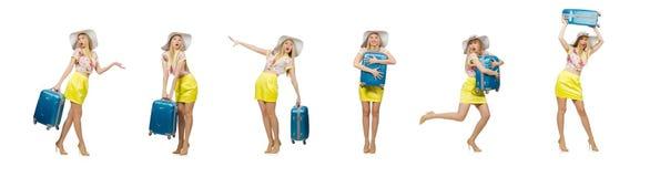 Η έννοια διακοπών ταξιδιού με τις αποσκευές στο λευκό στοκ φωτογραφίες