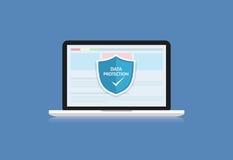 Η έννοια είναι ασφάλεια δεδομένων Η ασπίδα στο lap-top υπολογιστών προστατεύει sens Στοκ Εικόνες