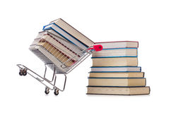 Η έννοια εκπαίδευσης με τα βιβλία στο λευκό Στοκ Φωτογραφία
