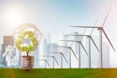 Η έννοια εναλλακτικής ενέργειας με τους ανεμόμυλους - τρισδιάστατη απόδοση Στοκ Φωτογραφίες