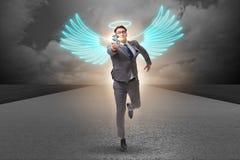 Η έννοια επενδυτών αγγέλου με τον επιχειρηματία με τα φτερά Στοκ Εικόνα
