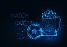 Η έννοια ημέρας αγώνων ποδοσφαίρου με την καμμένος χαμηλή πολυ σφαίρα ποδοσφαίρου και το γυαλί μπύρας κλέβουν σε σκούρο μπλε απεικόνιση αποθεμάτων