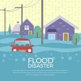 Η έννοια καταστροφής πλημμυρών με το σπίτι και το αυτοκίνητο είναι διανυσματικό σχέδιο πλημμυρών ελεύθερη απεικόνιση δικαιώματος