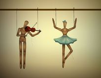 Η έννοια ντουέτου μουσικής, merionettes συνδέει τον έναν χορό και το ένα παιχνίδι violine, διανυσματική απεικόνιση