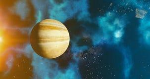 Η έννοια πλανητών Δία ηλιακών συστημάτων πέρα από το γαλαξιακό υπόβαθρο Δίας και τη γαλακτώδη αστρονομία πλανητών ηλιακών συστημά απεικόνιση αποθεμάτων